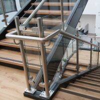 Extended glass (above the handrail)